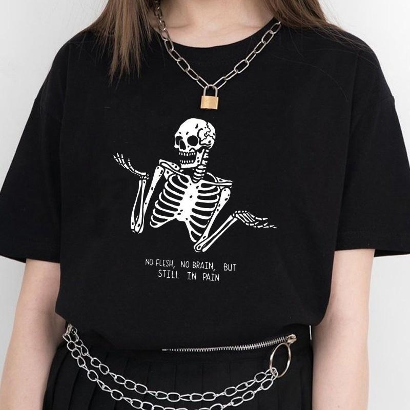 Kuakuayu HJN Нет плоти нет мозга, но все еще в боли черепа смешные цитаты напечатанные футболки женщины с коротким рукавом уличный стиль Tee Tops Y200412