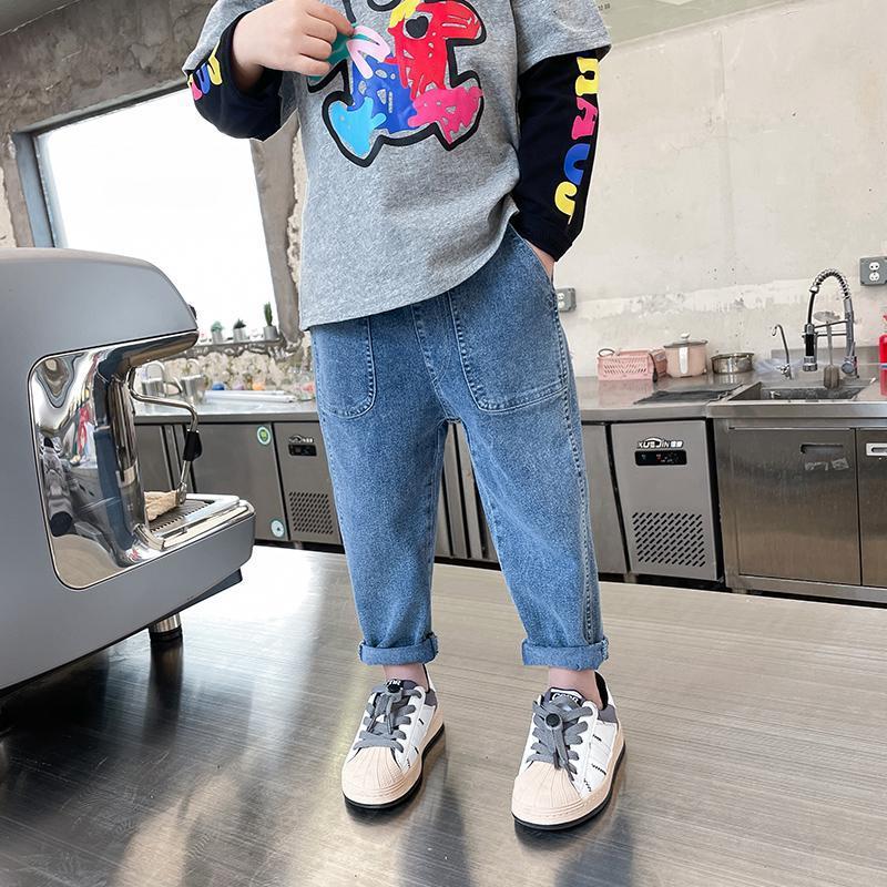 Novos meninos sólidos e meninas denim calças 2021 primavera e outono Calças de crianças coreanas 0-9 anos de idade elástica cintura médio meados calça
