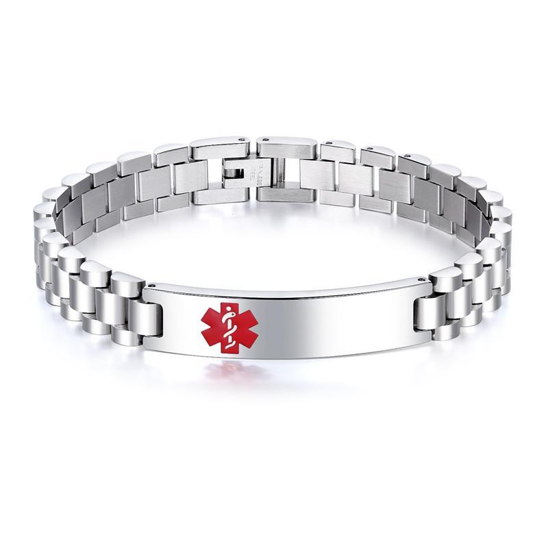 Alta Jóias polidas Marca de Aço Inoxidável Homens Primeiros Sugestão Médico Emblema Emblema Emblema Corrente Pulseira Relógio Faixa Band Bangle Braceletes