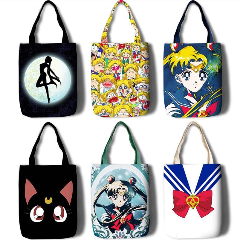 sailor moon cosplay ombro cruz pacote de corpo de saco simples viagens de lazer nova bolsa de lona feminino saco de mão grande