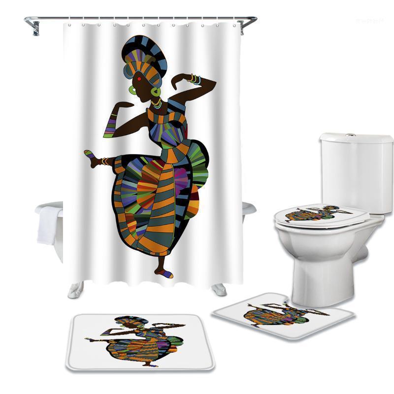 Femmes africaines Danse Rideau de douche ethnique Ensembles Tapis antidérapants Couvercle de toilette Couvercle de couvercle de toilette et rideaux de salle de bain étanche