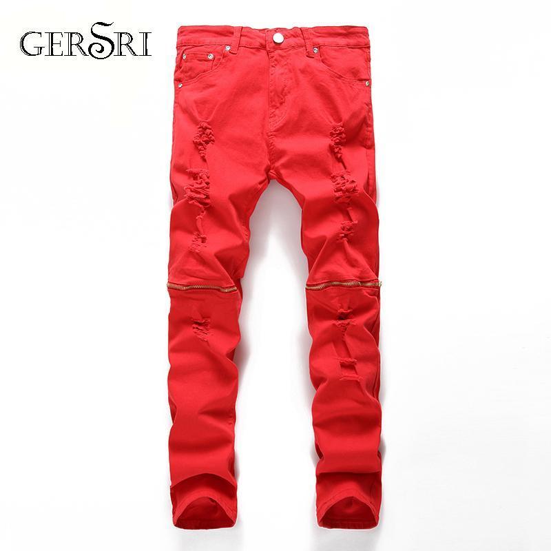Gersri Jeans Slim Hommes Pantalons 2020 Automne Hommes Casual Denim Pantalons Classiques Cowboys Jeune Homme Trous Jeune Jeune Pantalon