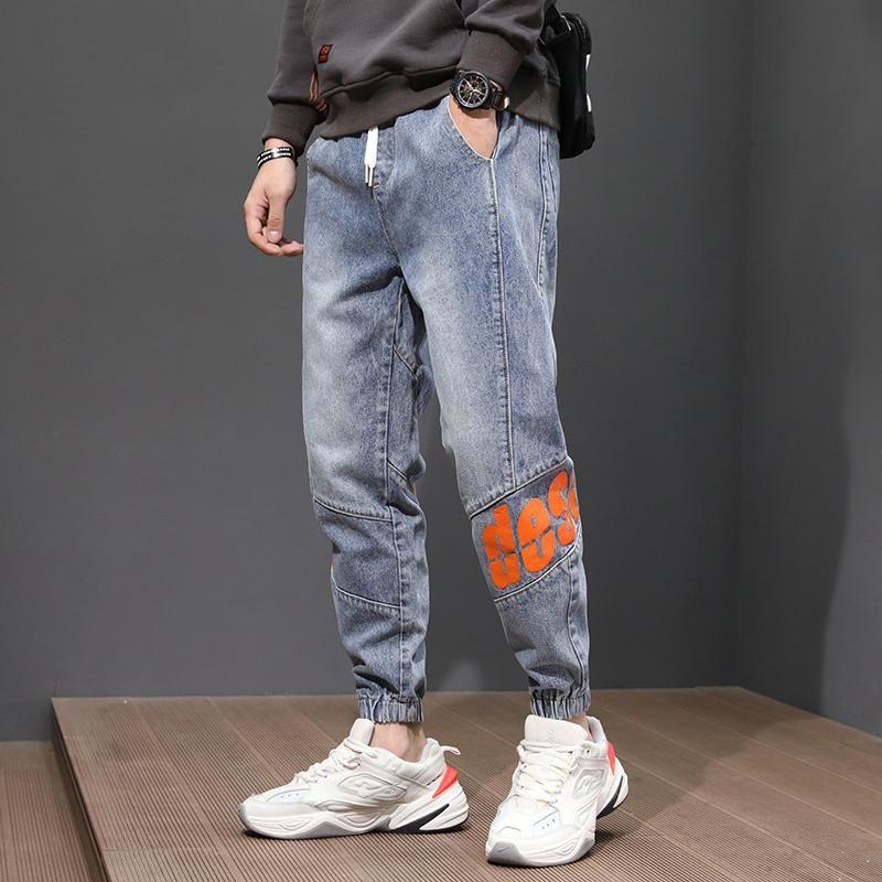 Мода-мода Streetwear Мужчины Джинсы Свободные FIT Сращенные джинсовые брюки Грузовые брюки Эластичный Печатный дизайнер Широкие брюки для ног Брюки Hip Hop Joggers Мужской
