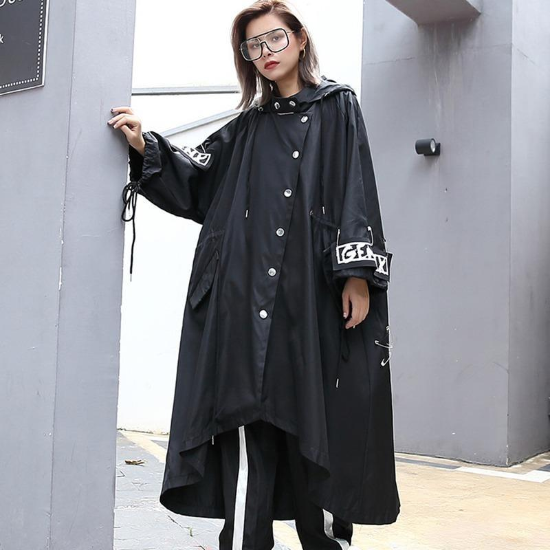 Sprised Plus Размер черный траншел для женщин Tide Длинные печатные уличные Одежда с капюшоном вскользь женское широкое талия 2020 Dropshipping