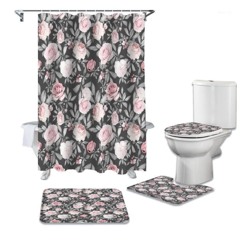 Flor Rose Rosa Impermeable Cortina de Ducha Shower Set de la alfombra Aparta de baño antideslizante Matera Toliet Cubierta de poliéster Curtain1