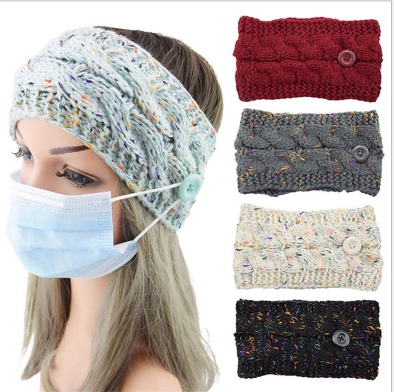 Женская вязать шерстяные повязка на повязку зима теплый конфетти для волос для волос с маской для лица с маской для лица