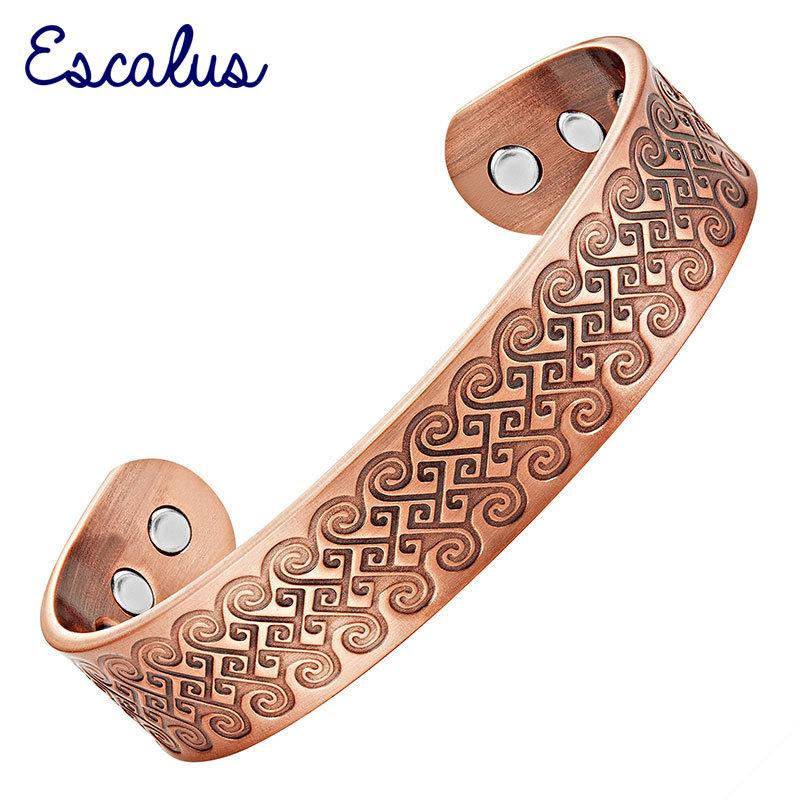 Escalus старинный чистый медный магнитный браслет для мужчин энергии браслет заживление моды шарм браслеты новые ювелирные браслеты Y1126