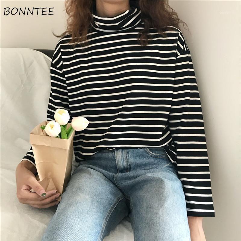 Футболки женские зимние водолазки теплые полосатые свободные простые женские футболки с длинным рукавом корейский стиль досуга модные студенты daily1