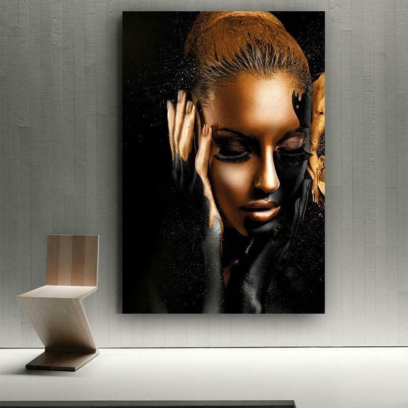 Afrikalı Kadın Sanat Siyah Altın Ev Dekor Handpainted HD Baskı Yağlıboya Tuval Duvar Sanatı Tuval Resimleri, F210107