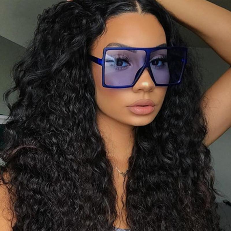 Vintage Grand Square Femmes Top Qualité Goggles Hommes Sunglasses surdimensionnés Mode Femme Célèbre Magaille de lunettes noires