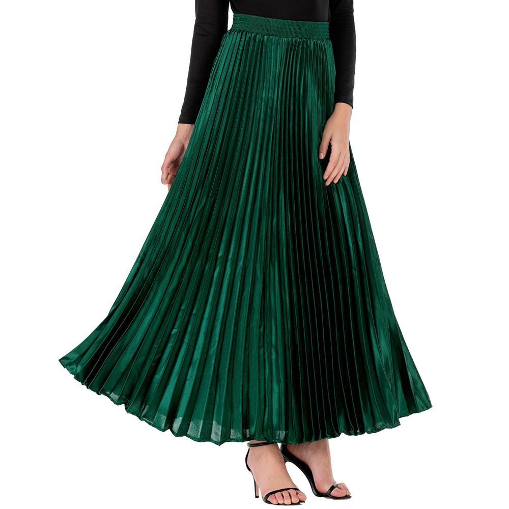 NEOPHIL 2020 Solid Mesdames Longues Jupes Musulman Maxi Femmes Jupes d'hiver 104cm Taille haute Plissé Longueur Longa Saia MS9111 J0118