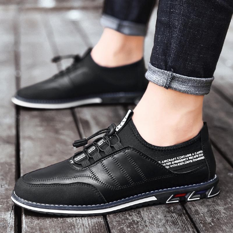 Горячая распродажа-летняя дышащая мужская обувь корейский стиль британская синяя мода обувь повседневная обувь бизнес-платье мужская круглая голова молодежь