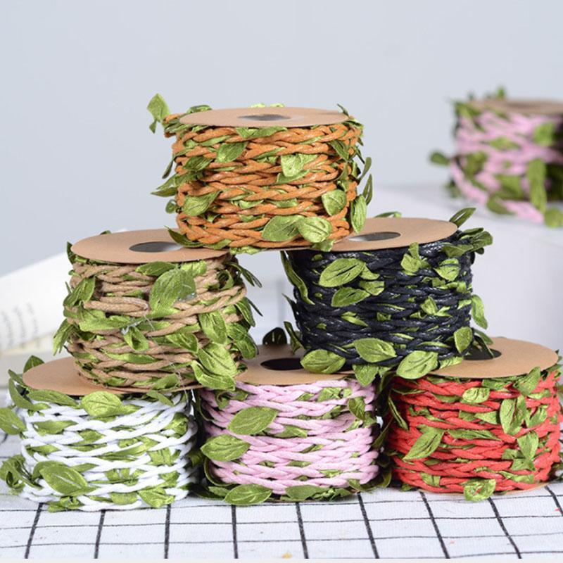 DIY Asmak Etiket Kordonları Dokuma Dekoratif Hediye Ambalaj Yeşil Yaprakları Düğün Parti Dekore Halat Ev Kumaş