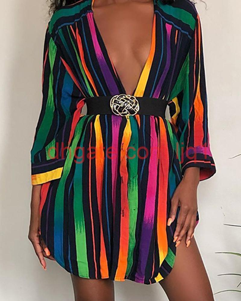 Bayan Tasarımcı Gömlek Elbiseler Moda Gökkuşağı Renkler Çizgili Baskılı Yaz Elbise Uzun Kollu Artı Boyutu Kadın Giyim
