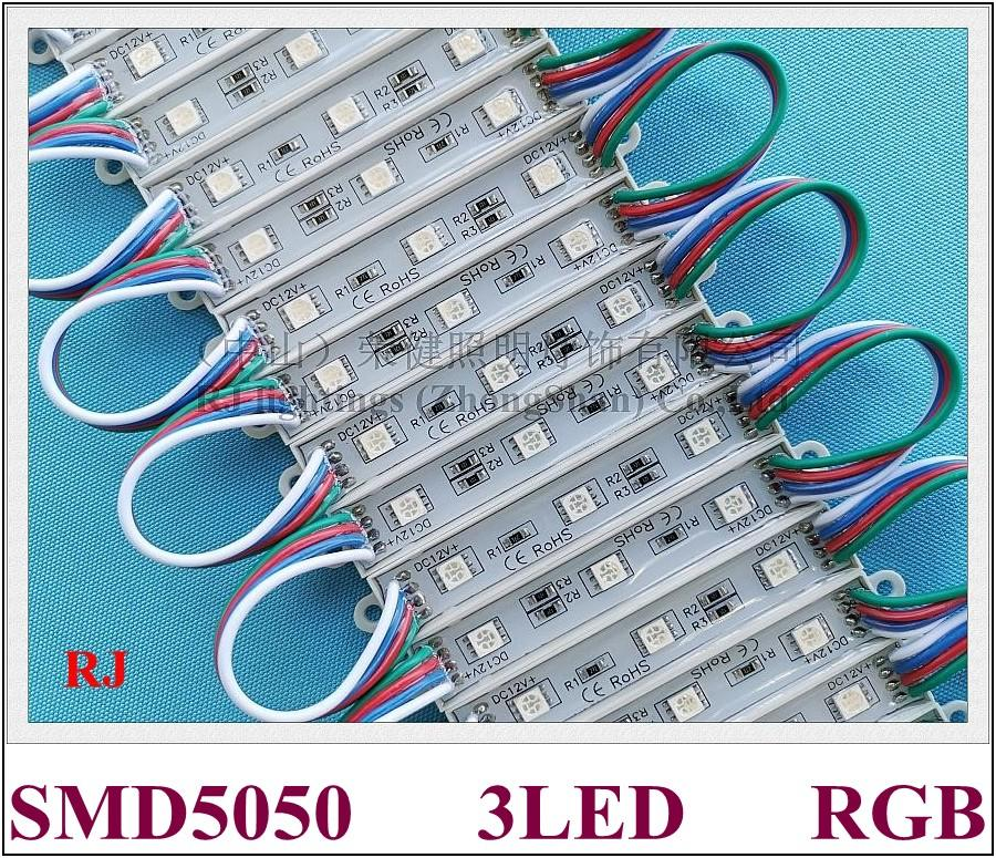 RGB LED 모듈 SMD 5050 LED 백라이트 픽셀 모듈 서명 편지 SMD5050 DC12V 3LED IP65 방수 0.72W RGB