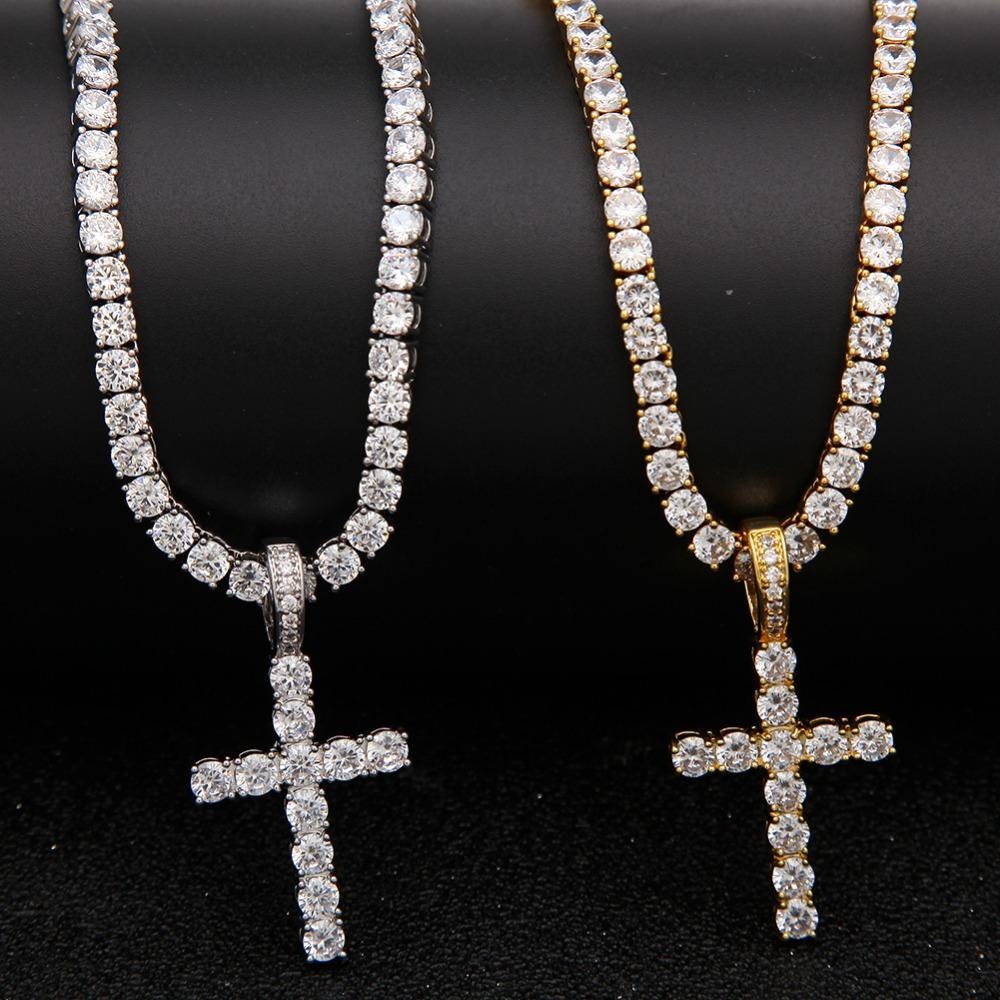 Iged خارج الزركون الصليب قلادة مع 4 ملليمتر تنس سلسلة قلادة الرجال النساء الهيب هوب مجوهرات الذهب والفضة تشيكوسلوفاكيا مجموعة