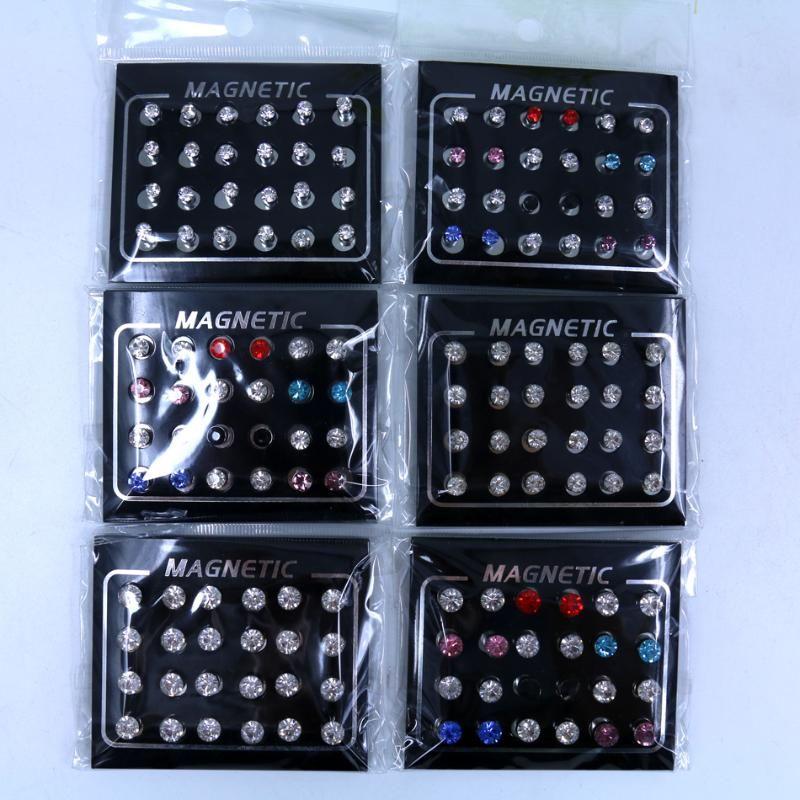 Envío gratis Fábrica al por mayor directamente joyería de moda linda 4mm 5mm 6 mm disponible brillante rhinestone imán pendientes 12pairs