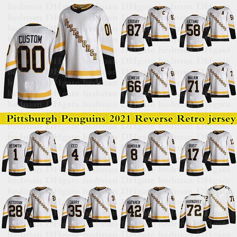Pittsburgh Penguins 2021 Reverse Retro Jerseys 87 Sidney Crosby 66 Lemieux 71 Malkin 58 Letang Personalizado Qualquer Número Qualquer Nome Hóquei Jersey