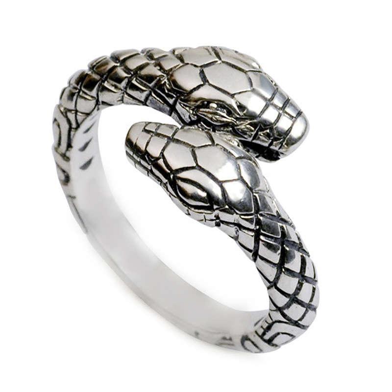 Cabeça dupla 925 Tailandesa prata personalizada cobra em forma de moda comer jóias