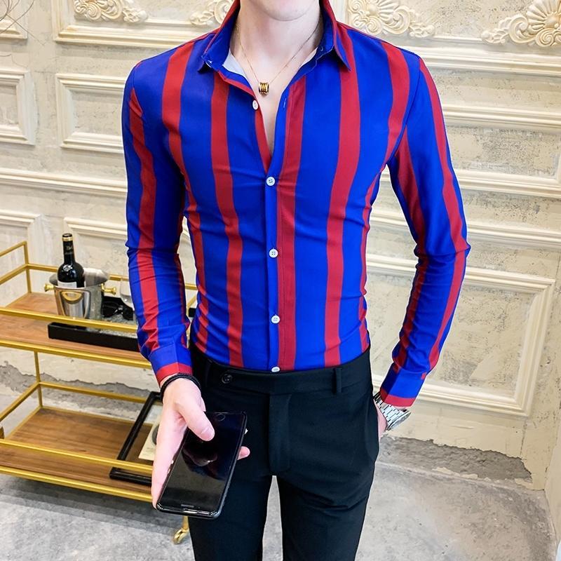 Chemise de chemise Hommes rayé Chemises occasionnelles à manches longues Slim Fit Hommes Shirt Autum Tuxedo Social Shirts Homme Vêtements 201120