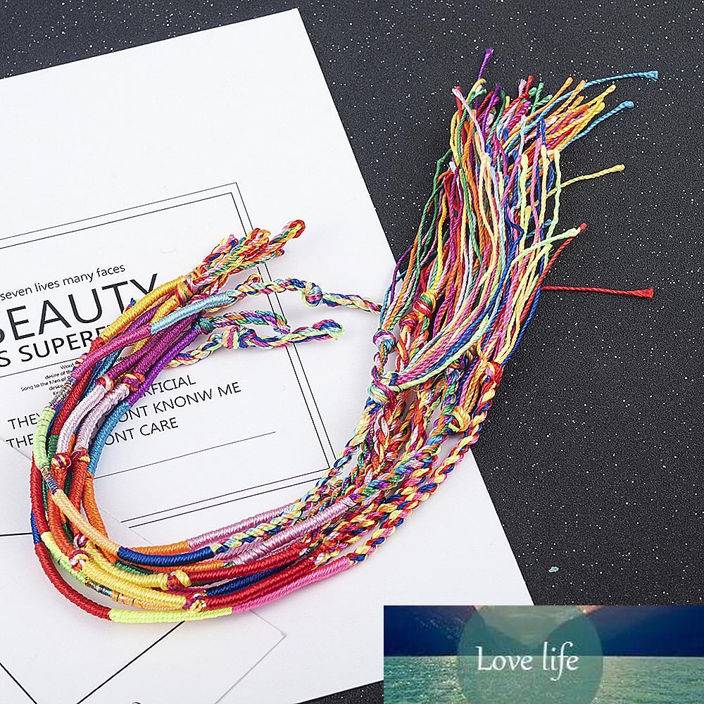 10 pçs / sets colorido arco-íris cor mistura trança braceletes mulheres meninas jóias presente diy charme artesanal corda pulgula cor aleatória corda