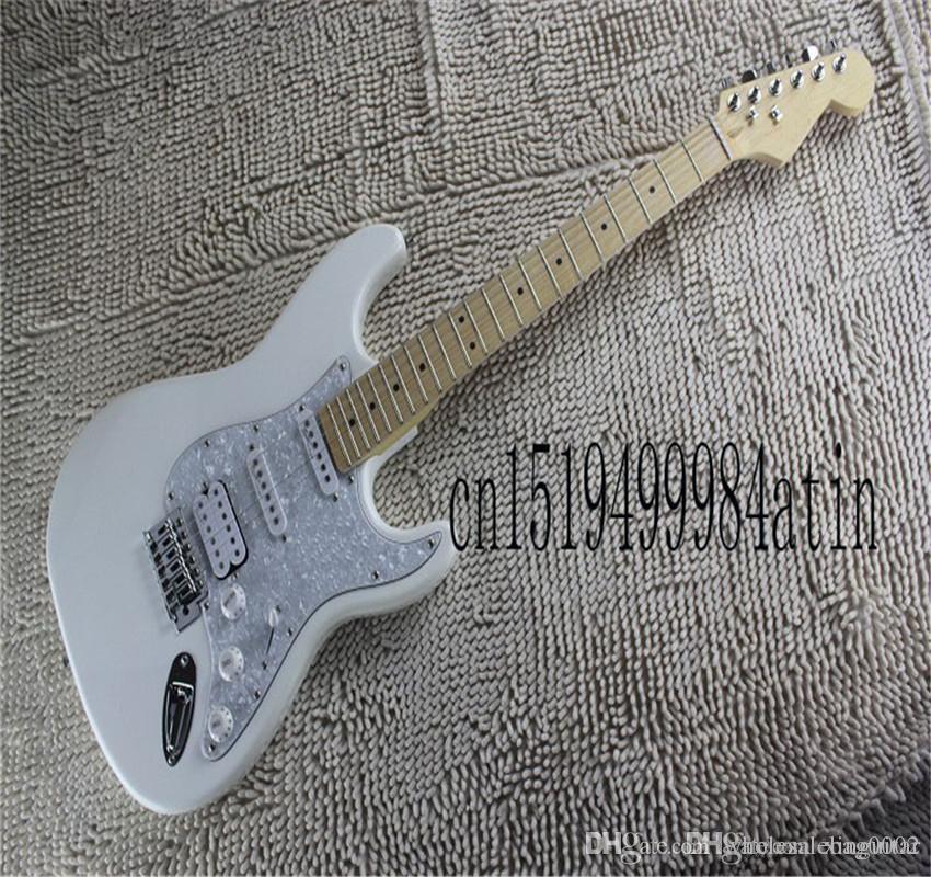 Hardcase Yüksek Kalite Gülağacı Klavye 6 Dize Strat Beyaz Inci Guard Elektro Gitar