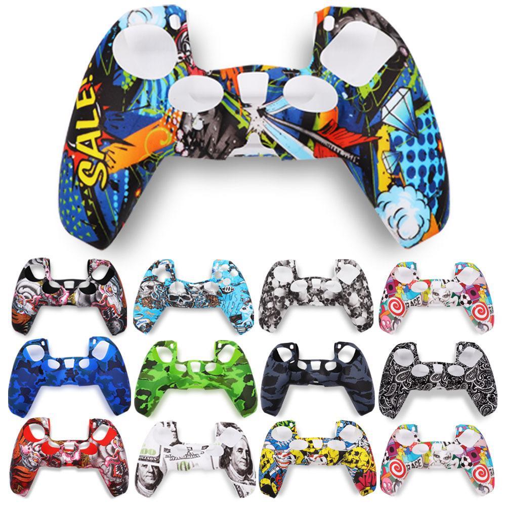 Für PS5 Playstation 5 Skin Soft Gel Silikon Schutzhülle Griffgehäuse Camouflage Schädel Cartoon Blume 50pcs / lot