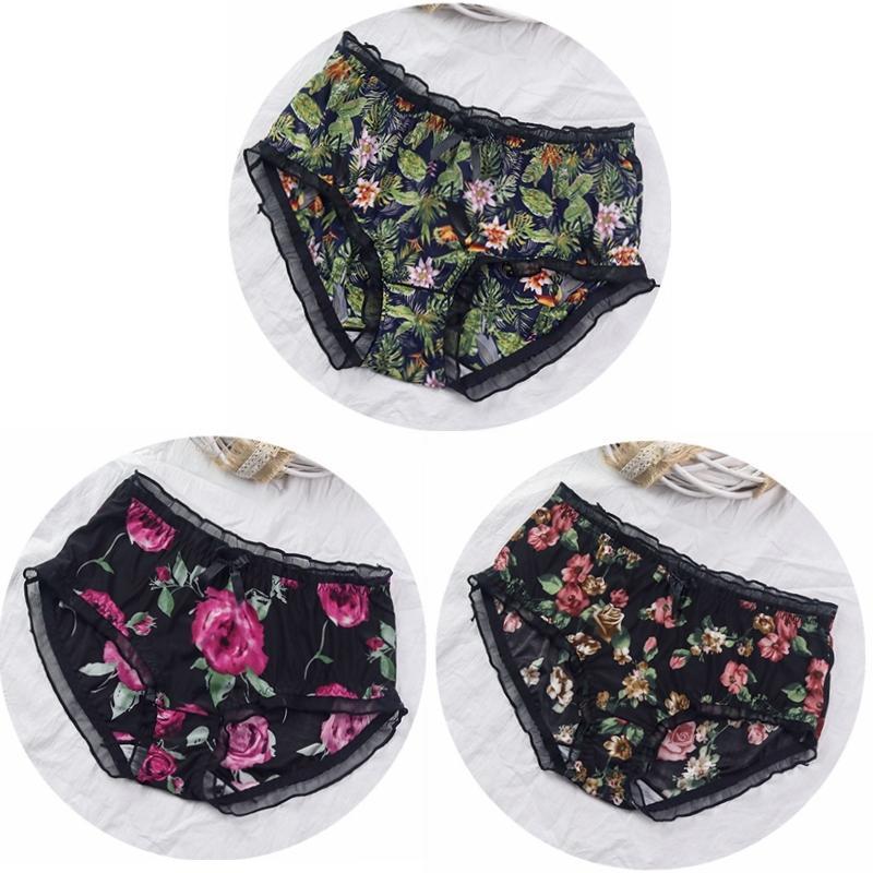 얇은 친밀감 3pcs / lot 부드러운 통기성 소녀 속옷 꽃 인쇄 플러스 사이즈 5XL 섹시한 란제리 여성 팬티 세트