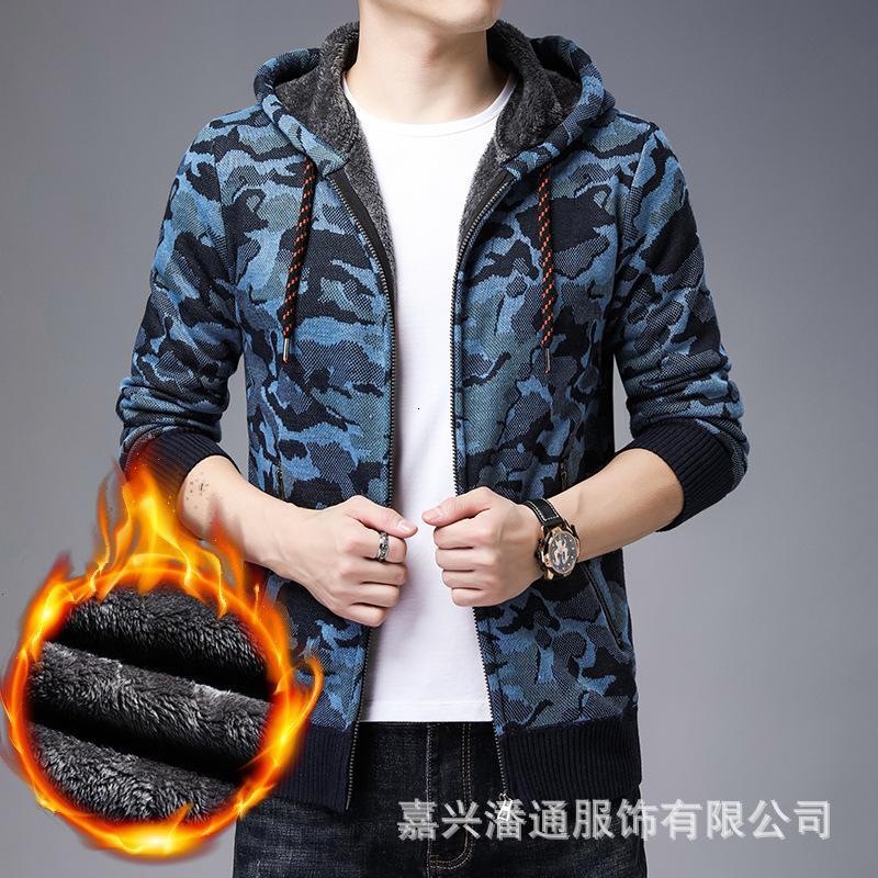 Neuer Winter-Kapuzenpullover für Männer Plüsch gestrickte Strickjacke Camouflage Jacke