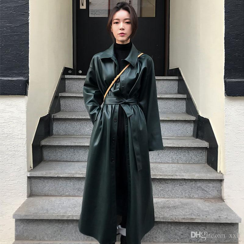 Johnature 2020 Осень зима Новая мода PU кожаная уличная одежда Bandage длинные женские окованные пальто Кнопка Кнопка 4 цвета пальто