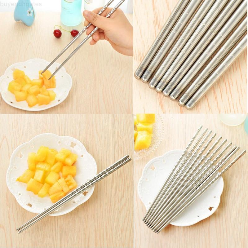 Palillos de acero inoxidable antideslizantes Pegados de alimentos duraderos Plata China China Inicio Restaurante Vajilla 1 par