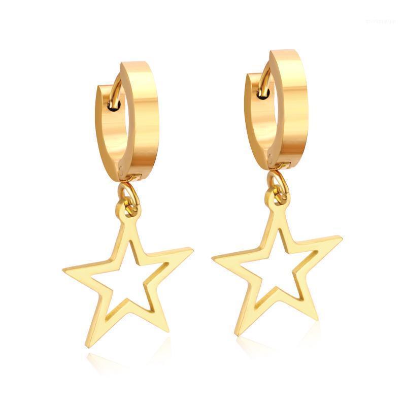 Luxukisskids Star Drop Pendientes para mujeres Joyería de moda Acero inoxidable Oro / Earings de acero Brincos Aretes Pendientes Brincos1