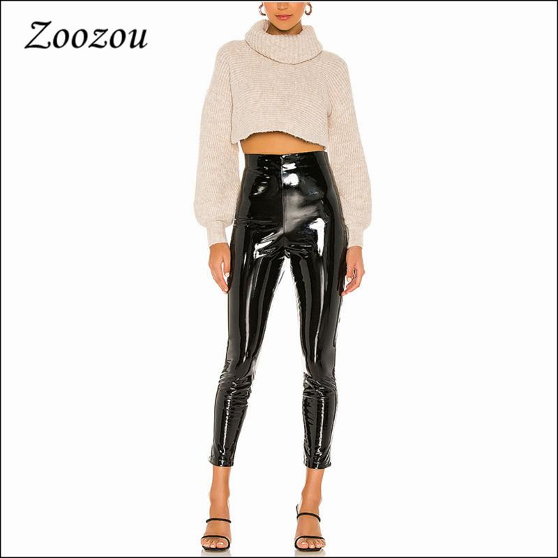 Femmes Taille haute Slim Puent Patent Pantalon en cuir Sexy Ny Noir Black Latex Faux Leggings Casual Baldoyal Cropped Pantalon Custom