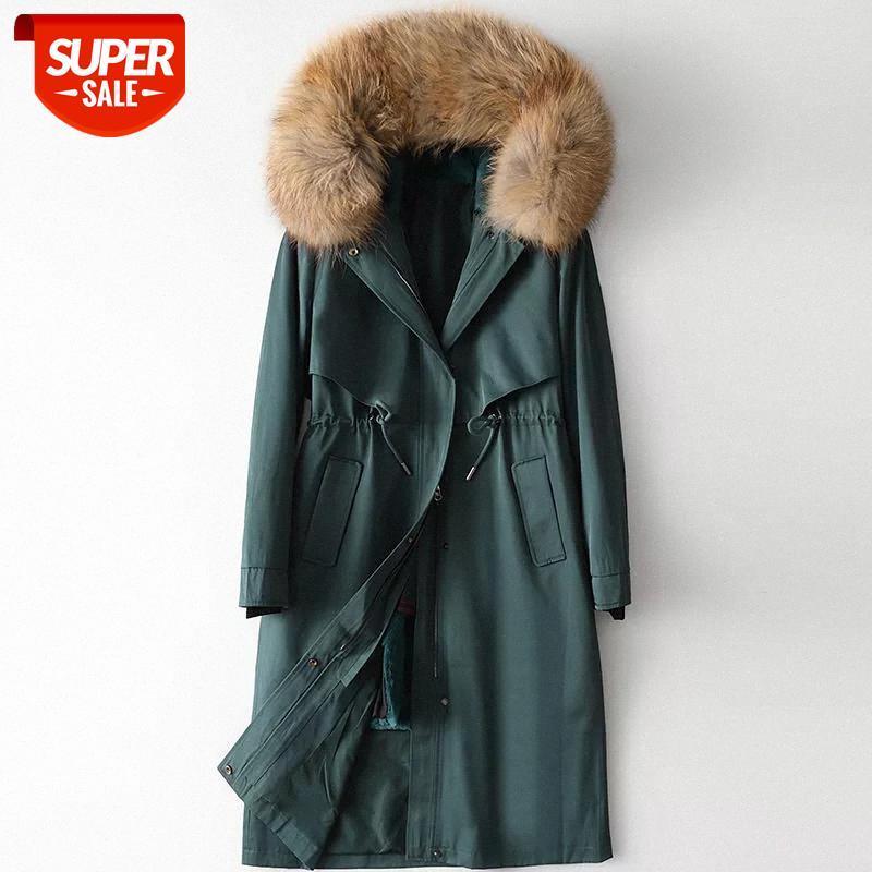 Fashion Solide Coton Liner Parkas Down Parkas Nouveau 100% Doublure de lapin Veste d'hiver Femmes Taille Collier à fourrure chaude # OY0Q