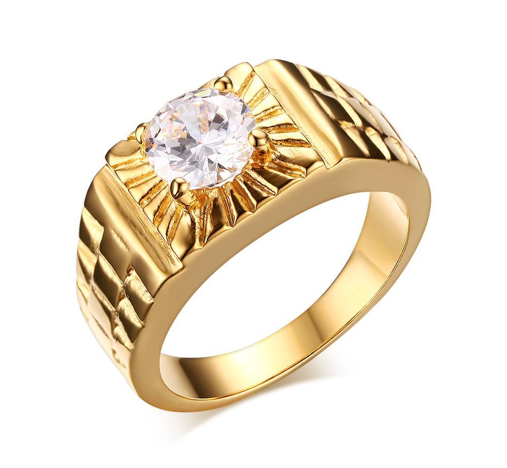 cgjxs Gold Plated Men &#39 ;S Stainless Steel Solitaire Cz Wedding Ring Ribbed Watch Belt Pattern Band Pinky Ring Us Size #7 -11