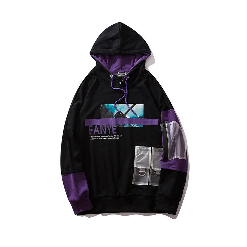 Erkekler Hip Hop Hoodies Ince Kazak Baskı Hoodie Rahat Siyah Hoody Kazak Pamuk Streetwear Sonbahar 2019 Sıcak