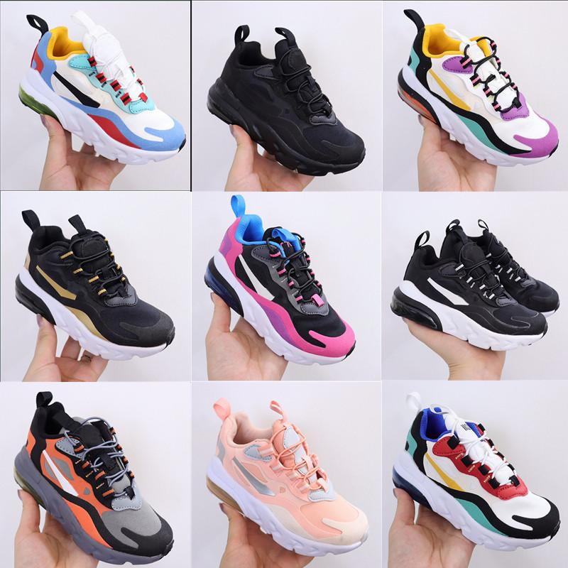 21-270 Reaksiyon Bauhaus TD Çocuklar Ayakkabı Erkek Kız Koşu Ayakkabıları Siyah Beyaz Hiper Parlak Menekşe Yürüyor Çocuk Sneakers 28-35