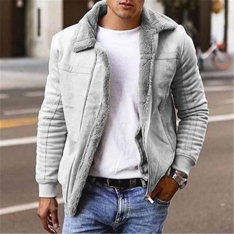Otoño invierno para hombre gamuza chaquetas de cuero motocicleta chaqueta masculina gruesa cálido cuello cuello biker abrigos a prueba de viento Fleece Outwear 201130