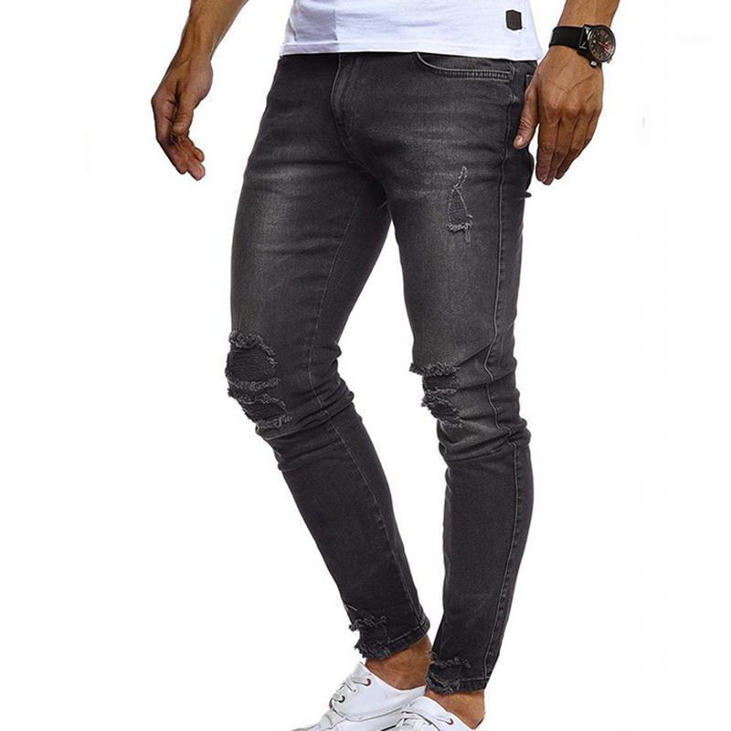 2020 Autumn Men's Jeans Solid Color Casual Jeans Distressed Hole Slim Zipper Male Pencil Pants Men Denim Trousers1