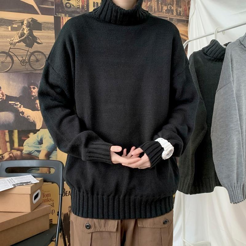 Pulls pour hommes coréens lisibles 2021 Automne hiver surdimensionné pulls en tricoté surdimensionné hommes chauds de pull occasionnel hommes