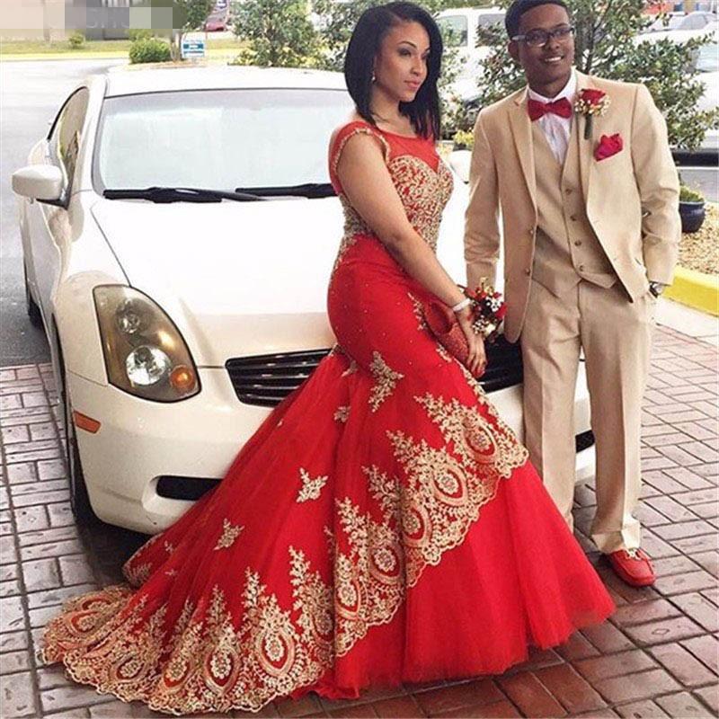 2020 Roues de mariée Musulman de Mermimum Rouge Dentelle d'or Appelée Vestidios de Noivas de Luxo Princesa Sweep Train Bridal Robes Vestido de Novia