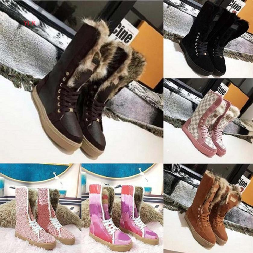 Diapositives en fourrure véritable enneigées cuir imperméable hiver chaud genou bottes hautes bottes de mode australie sh02 l1