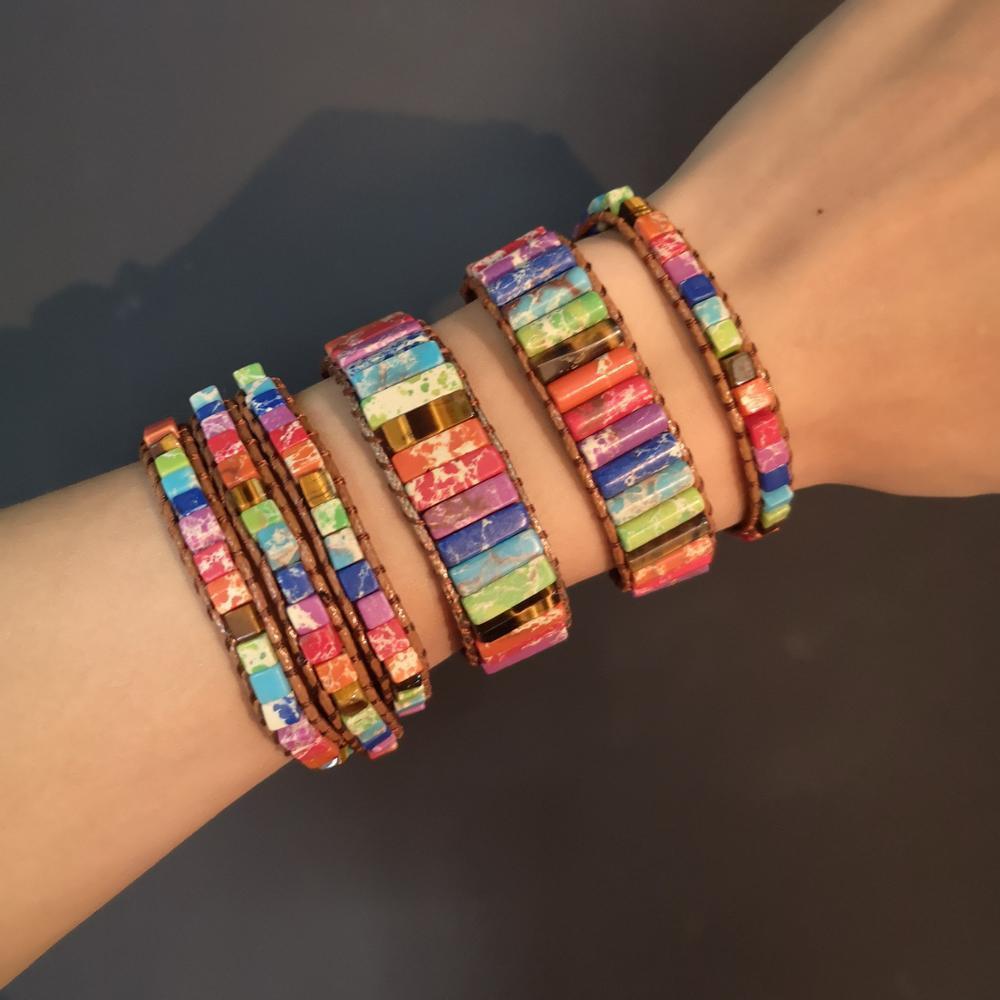 Pulseras de parejas Rinhoo Chakra joyería hecha a mano de los granos del tubo multicolor de piedra natural del abrigo del cuero de la pulsera de regalos