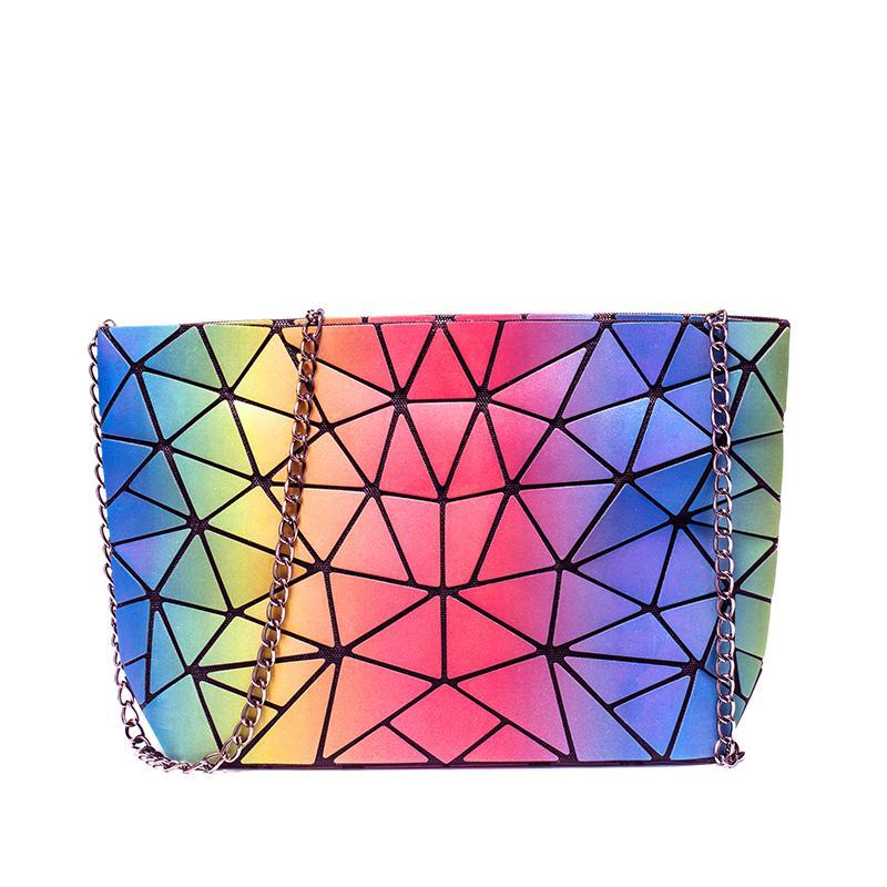 Borse a tracolla LoveVook per donna 2020 Borsa a tracolla pieghevole a tracolla pieghevole con retrò femmina designer di lusso borse geometriche arcobaleno