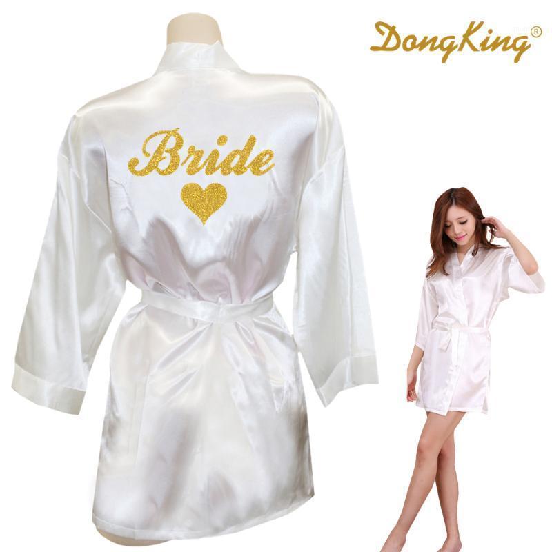 Dongking невеста халат невесты сердца кимоно золотой блеск печати халаты свадьба готовить белье подарок bridal вечеринка искусственный шелковый атласский платье1