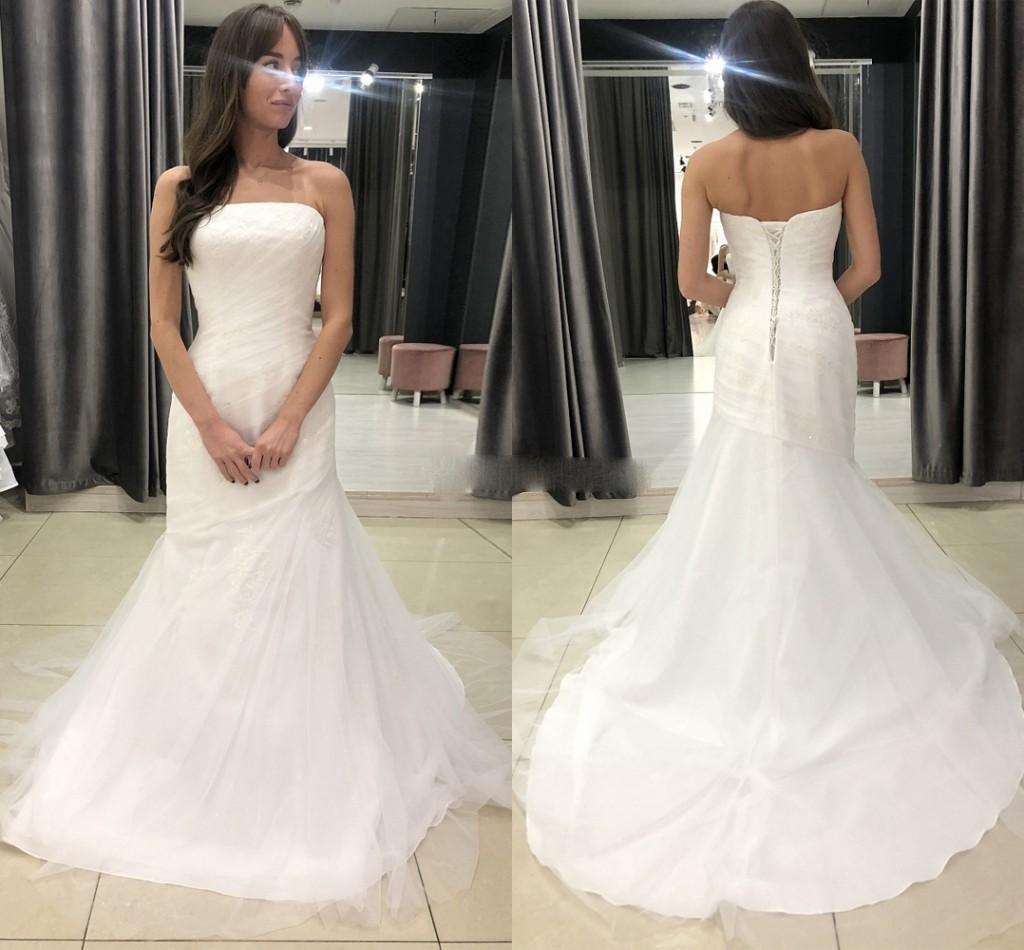 2021 Simple Mermaid Wedding Dresses Strapless Tulle Sweep Train Corset Back Custom Made Plus Size Wedding Bridal Gown vestido de novia