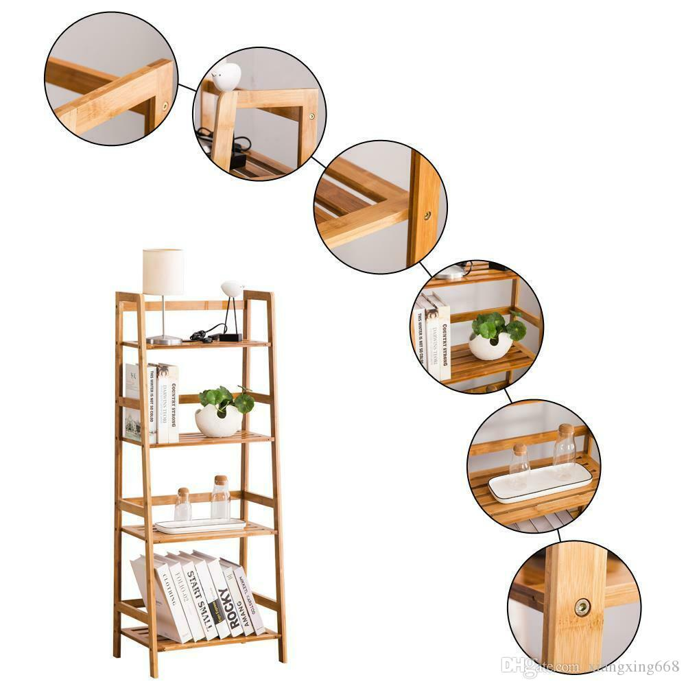 New 4-Tier Bamboo Bookcase Bookshelf Leaning Wall Shelf Shelving Ladder Storage