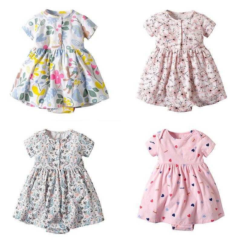 Boutique Toddler Romper Dress Short Sleeve Cotton Baby Girl Summer Clothes 4 Design Cute Floral Dresses 19030101