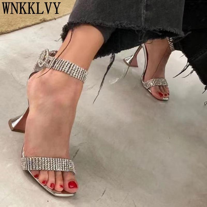 Luxuriöse Strassschale High Heel Sandalen Frauen Quadrat Offene Zehen Knöchelband Kristall Sandalias Sexy Party Hochzeit Schuhe Weiblich