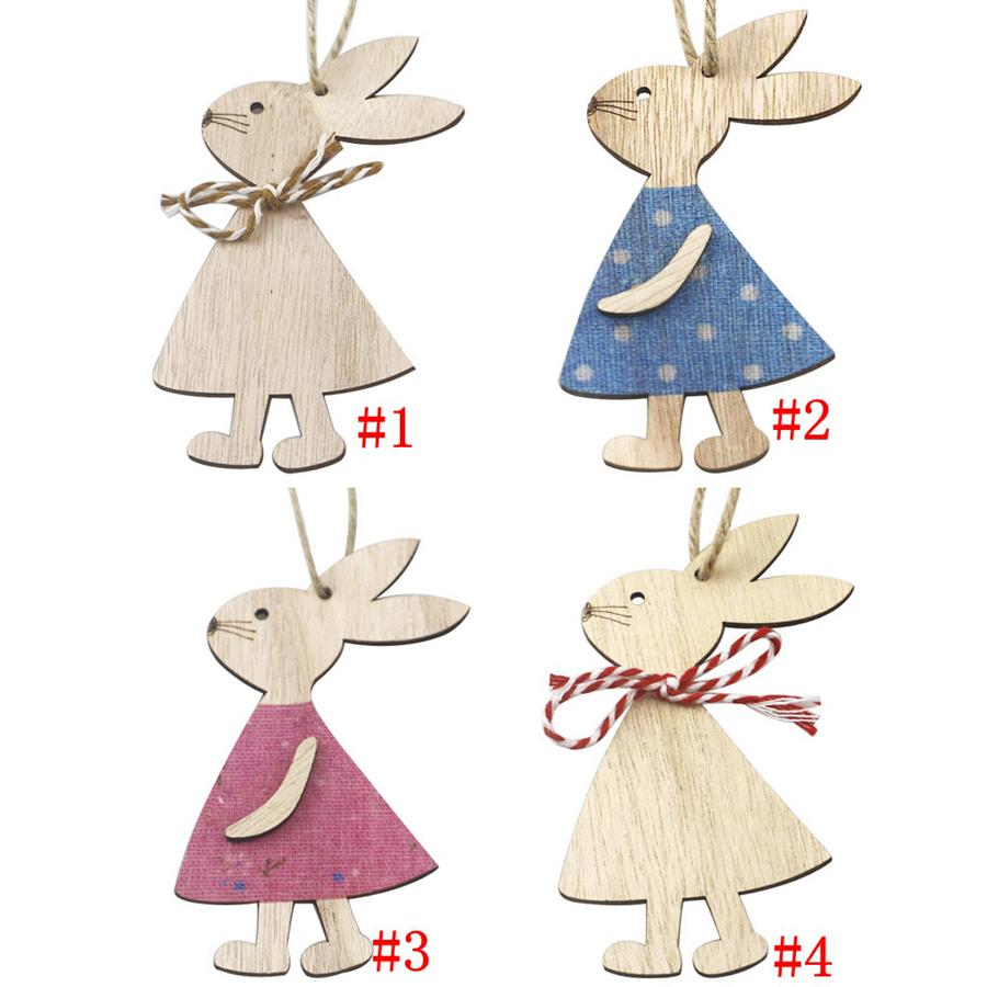Easter Wooden Pendants Decorations Pendant DIY Carved Wooden Rabbit Hanging Pendants Ornaments Creative Wooden Craft Party Favors RRC5331